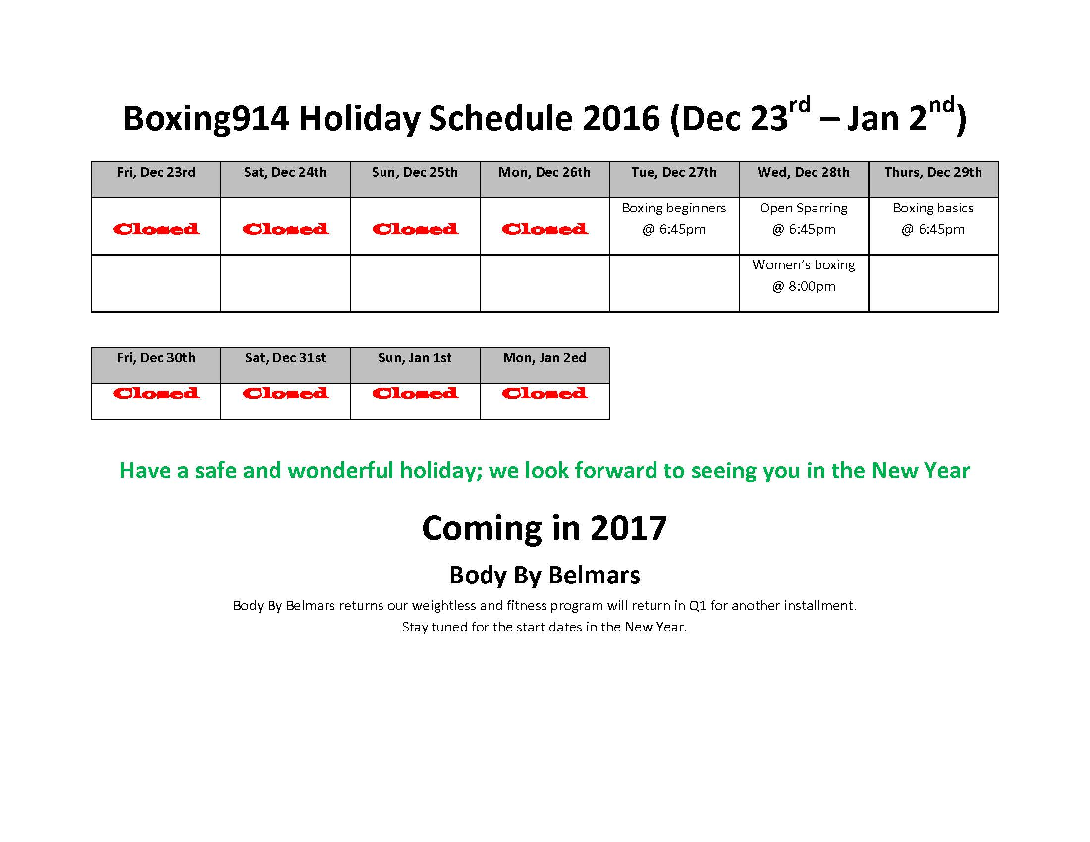 Boxing Holiday Schedule